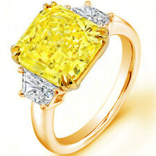 Diamond Engagement Ring Fancy Yellow Radiant Cut GIA Certified 2.20 CT 18k Gold