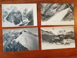 4 vintage B&W European ALP Postcards - Switzerland - Germany? free USA shipping