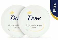 2 x Dove Rich Nourishment Cream Moisturising 75ml Face & Body Care For 24hr New