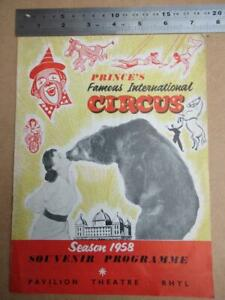 Prince's Famous International Circus1958  PROGRAMME RHYL more image down listing
