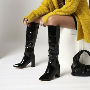 Ladies Patent Leather Pointy Toe Thick Heels Pleated Knee High Boots Party Shoes