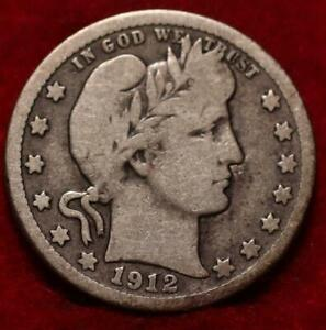 1912-S San Francisco Mint Silver Barber Quarter