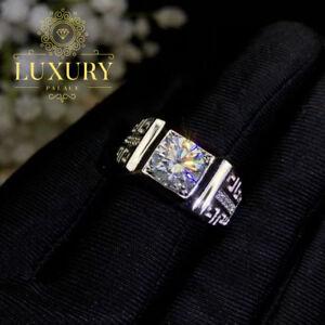 Moissanite D/VVS1 2ct Oval Cut Diamond Platinum Plated Men's Engagement Ring