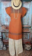 Huipil Short Dress Tunic Rust & Gray Handwoven Mayan Larrainzar Chiapas Mexico
