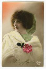 1920s Vintage French Deco LADY w/ WHITE FUR Stole fashion photo postcard