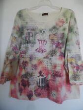 Women Flower N Ring Multi Embellished Coffee Top Shirt Size  2X Nice