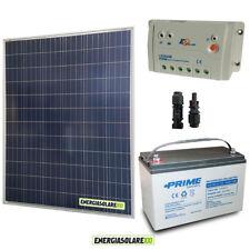 Kit Starter Plus Pannello Solare 200W 12V Batteria AGM 100Ah  Regolatore PWM 20A