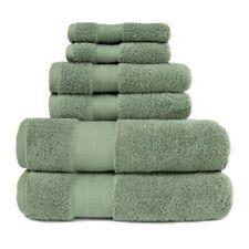 6pc Olive Green 100% Turkish Long Staple Cotton Bath, Hand, Face Towel Set