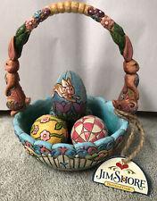 Jim Shore Enesco 2006 Hunting Eggs Finding Joy Easter Basket With 4 Eggs *Mint*