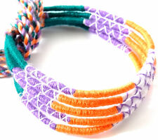 Lot 5 Bracelets Brésiliens de l'Amitié Macramé coton Friendship vert orange