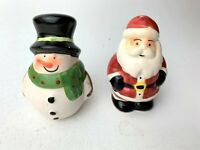 Vintage Santa Claus and Snowman Christmas Holiday Salt & Pepper Shakers