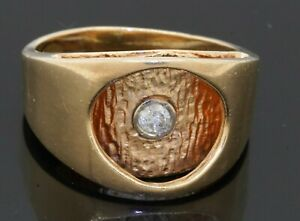 Heavy 14K gold amazing .15CT diamond solitaire abstract men's ring size 10.25