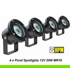 4 x HPM 12V Garden Light Pond Spotlights Black 20W MR16 IP68 Waterproof DIY