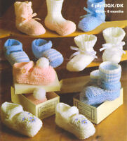 Beautiful Baby Shoes & Bootees in DK & 4 Ply 0 - 6 Months Knitting Pattern