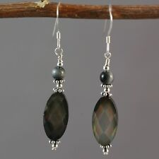 Sterling Silver Natural Faceted Grey Shell Dangle Earrings
