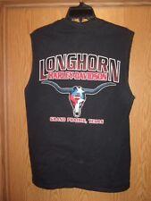 Longhorn Harley Davidson black sleeveless L t shirt Grand Prairie Texas