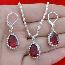 New fashion 925 silver ruby Jewelry 24 inch Necklace Pendant + earring N-597