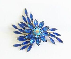 Vintage Judy Lee Blue Marquise Navette Rhinestone Brooch