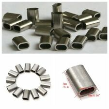 50x 304 Cable Crimp Sleeve Stainless Steel Silver for 1/16'' Diameter Wire Rope