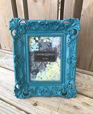 HTF Ornate Designer Picture Frame Art Deco Aqua Blue Repro By Cynthia Rowley 5x7