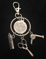 Hairdresser Hair Stylist Gift Charm Keyring Keychain Scissors Present Salon