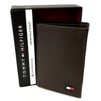 New TOMMY HILFIGER Men's Brown Leather Wallet (RFID Protection) Gift Boxed