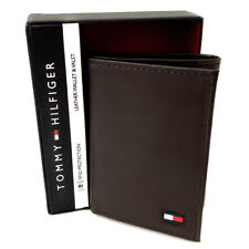 NEW Genuine TOMMY HILFIGER Brown Leather Wallet (RFID Protection) Gift Boxed