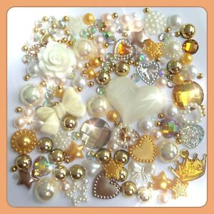 Gold, Ivory, Cream and White Cabochon Gems Pearls flatbacks decoden crafts #1