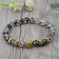 Fashion 8MM Natural Stone Gold Lion Head Shim Energy Women Men Bracelets Jewelry