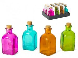 Set Of 12 Small Square Glass Bottles & Cork Assorted Colours Liquor Bottle 120ml