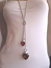 Modekette Damen Hals Kette Bettelkette lang Modeschmuck 2x Herz Straß Silber Rot