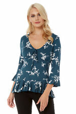 Roman Originals Women's Ditsy Floral Print Top with Frill 3/4 Sleeves Teal