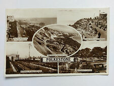 Folkstone Vintage B&W postcard 1945 Multi view