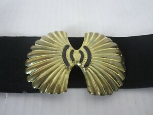 "VTG 80's Stretchy Statement Belt Womens M/L Black with Gold Trim 30""-32"" waist"