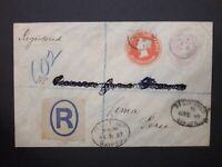 GB Stationery STO Registered QV 1d+ 4d Compound Envelope BUSHEY NEW TOWN to Peru