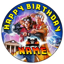"""BACK TO THE FUTURE - 7.5"""" PERSONALISED ROUND EDIBLE ICING CAKE TOPPER"""
