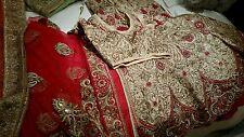 Vestido de novia rojo y oro Lengha pesado diamante Bordada Tamaño 12