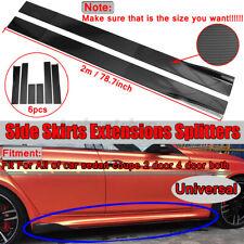 78.7'' Carbon Fbier Universal Car Side Skirt Extension Lip Rocker Panel Splitter