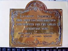 Vintage BRASS wall plaque 'GREAT EXHIBITION, Rare. RED GROUSE Lagopus Scoticus.1