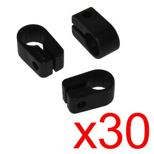 30 x Electrical Cable/ Lead/ Wire Cleats/Clips Size 7 Black
