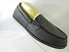 New Hammacher Schlemmer Size 11-11.5 Black Leather Fur Lined Slippers Mens Shoes