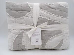 Pottery Barn Ohana Handcrafted Cotton Quilt Full Queen Light Gray #9911