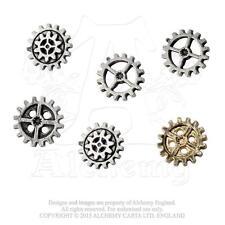 AE S10 - Steampunk Gearwheel Buttons - Medium - Cogs - Pewter & Gilt Plate