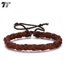 TT Deep Brown Genuine Leather Bracelet Wristband (LB362) NEW Arrival
