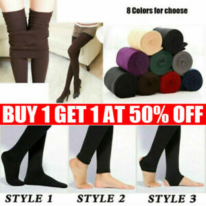 Womens Winter Warm Fleece Lined Thick Thermal Ladies Full Foot Tights Long Pants