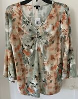 NWT Sami & Jo Green Brown Floral V Neck 3/4 Bell Sleeve Boho Blouse Sz Small