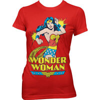 Official DC Comics Ladies Wonder Woman Comic Print Red T-Shirt - Fitted Tee