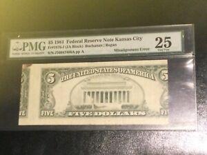 1981 $5 Breathtaking Misalignment Error PMG 25