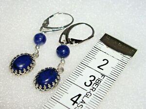 ANTIQUE DESIGN 925 STERLING SILVER & BLUE LAPIS LAZULI EARRINGS