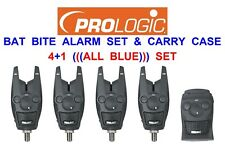 PROLOGIC 4+1 ALL BLUE BAT BITE ALARM SET+CASE FOR CARP FISHING ROD POD BUZZ BAR